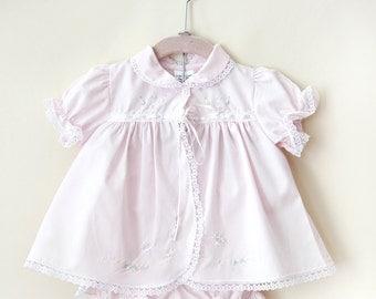 Vintage Baby Dress / Pale Pink Newborn Dress / Embroidered Baby Dress / Size  Newborn