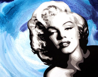 """Marilyn Monroe in Blue signed 18x24"""" Art on canvas giclee"""