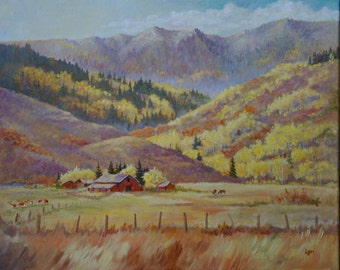 Original oil painting -- Star Valley, Wyoming, in the fall