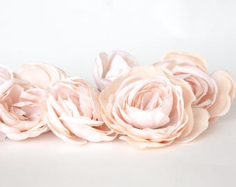 set of 8 Ranunculus in Creamy Blush Pink - Silk Artificial Flowers - read description - ITEM 0226