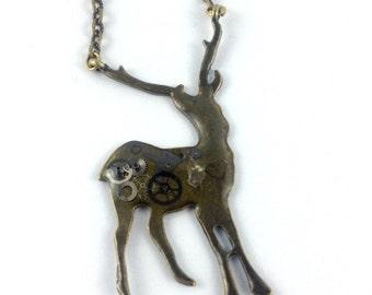 SALE Steampunk Vintage bronze deer stag antler pendant necklace
