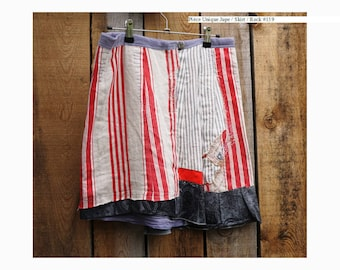 """Summer skirt """"Vintage stripes"""" recycled textiles size 38"""