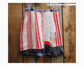 """Skirt """"Vintage stripes"""" recycled textiles size 38"""