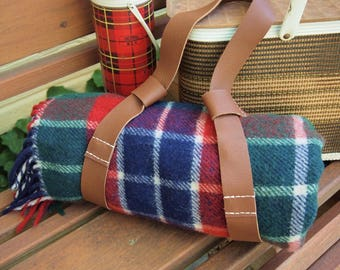Plaid Wool Throw Perfect for a Picnic, Trailer, Camping As-found has holes