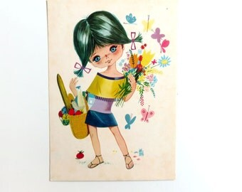 Vintage Postcard 1970s - Big Eyed Girl by Will Berg - Greeting Card - Unused 70s Dutch Flower Power