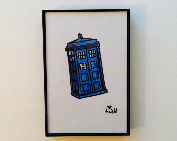 Tardis, Doctor Who, Art, Print, 4 x 6 inches, Television, Science Fiction, Framed Artwork, Illustration, Wall Decor, BBC, Dr Who, Sci Fi