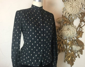 Fall sale 1980s blouse black blouse puff shoulders size small high neck blouse vintage shirt black shirt button up shirt