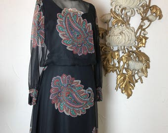 1960s dress Parnes Feinstein 1920 style dress chiffon dress size large 60s does the 20s paisley dress 40 bust