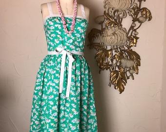 1980s dress cotton dress green dress sleeveless dress size small vintage sundress 27 waist