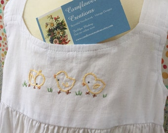 Tiered Dress - Three Little Chicks - Hand Embroidered - By  Cornflower Creations