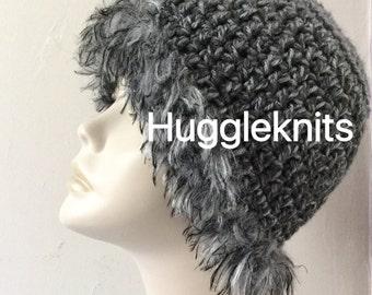 Crochet Grey wool with fur detail Slouchie/Beanie wool hat