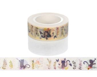 Cat Washi Tape, Playful Cats Washi Tape, Kitten Washi Tape, Cat Tape, Adorable Kawaii Washi Tape for Art Projects, Cards, Animal Washi Tape
