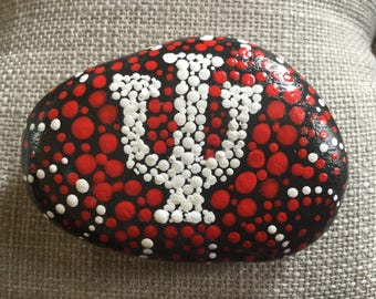 Hand painted Stone, Indiana University,  rock, paperweight