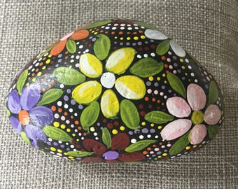 Painted Flower stone, rock