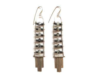 SALE  Black and White Agate Ladder Earrings