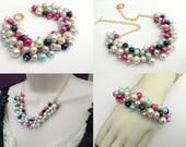 Lori's Jewelry Set, Matching Pearl Set, Pearl Beaded Jewelry, Bridesmaids, Wedding Theme, Everyday Chunky Jewelry