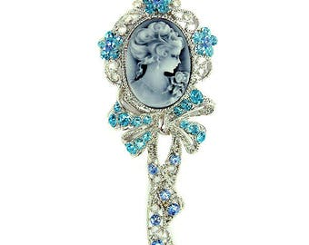Swarovski Crystal Huge Blue Victorian Style CAMEO Princess Queen Gothic Flower Floral Pin Brooch Jewelry Mother's Day Bridal Christmas Gift