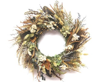 Brown Green Blue preserved eucalyptus lavender and wild grasses wreath