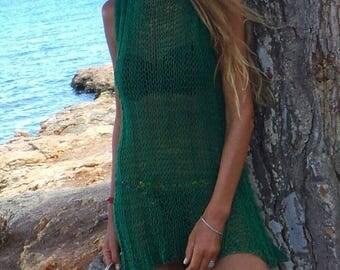 RESERVED for CARYN Green knit dress, cover up beach dress , cotton summer dress, emerald green dress