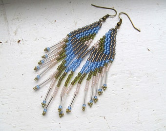 Native American Bead Earrings, Beaded Dangles, Earth and Sky, Boho Jewelry, Hippie Chic