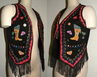 Vintage 80's 90's JouJou Beyond Basics Western Cowgirl Fringe Vest