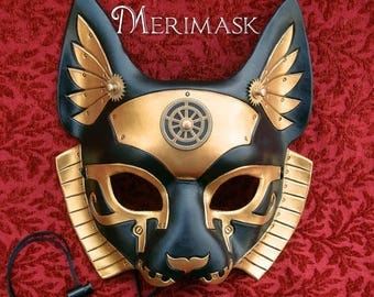 READY TO SHIP Imperial Industrial Bast V6... original mixed media handmade steampunk egyptian cat goddess mask