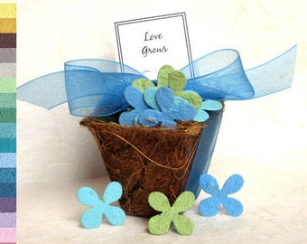 50 Seed Wedding Favors - Plantable Flower Seed Paper and Plantable Pots Kit - Tree Trunk With Carved Initials - Love Grows Favors