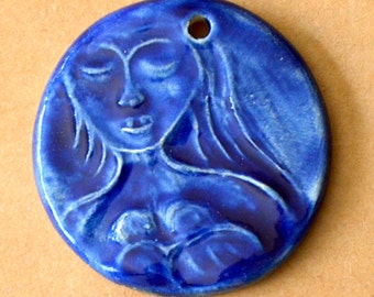 Breastfeeding Mama Ceramic Bead - Ceramic Pendant -- Extra Large Focal Bead - Natural Mother - Nursing Mama in Blue