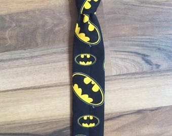 Batman Emblem Necktie Little Boys, Cartoon Superhero Black Yellow