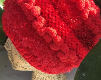 Funky red knitted hat