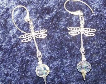 Sterling Silver Auroraborialis Crystal Dangling Dragonfly Earrings