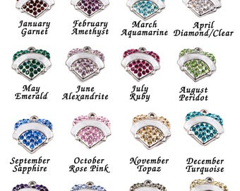 Swarovski crystal heart in Stainless Steel with personalized engraving front and back, Birthstone crystals, chains not included