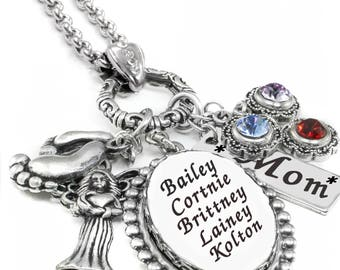Mother's Necklace, Mothers Birthstone Necklace, Children's Names, Mother's personalized Necklace, Gift for Mom, Birthstone Gift