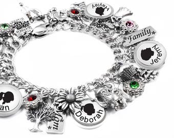 Mom Bracelet, Engraved Childrens Name, Personalized Mother Bracelet, Abuela Bracelet, Mimi Bracelet, with birthstones is stainless steel
