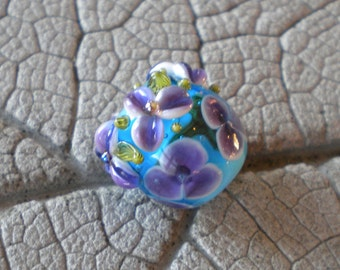 Purple Turquoise Vine Cane Encased Floral Focal Lampwork Beads by Cherie Sra R114 Encased Floral Focal Vine Cane Violet Floral encased bead