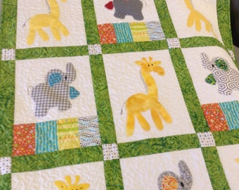 Giraffes and Elephants applique baby quilt cuddle blanket