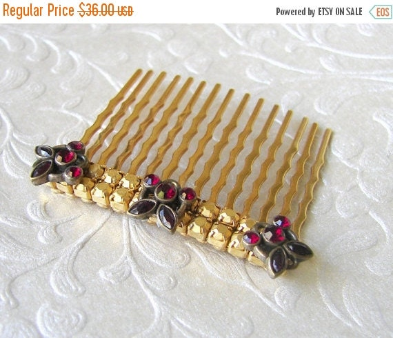 20% SALE Garnet Red Rhinestone Hair Comb Antique Jewelry Upcycled Gold Hairpiece Valentines Wedding Bohemian Chic Bride Prom Formal Pageant
