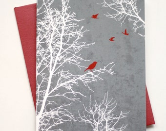 Christmas Cards / Holiday Cards - Peaceful Winter Silhouette Trees and Birds with textured background - Set of 8