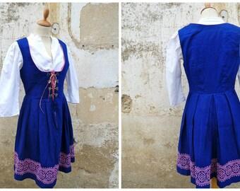 Vintage 1970/70s Tyrol Austria October fest dirndl dress embroidered + white cotton mini blouse size M