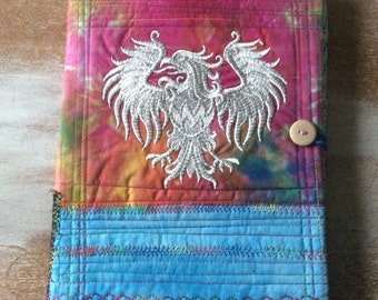 Eagle Journal - COMPOSITION Notebook Book Cover - fabric and embroidery collage