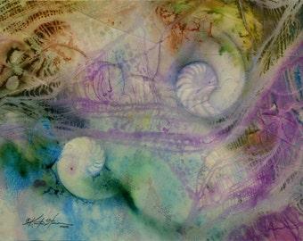 "Sea Shell Watercolor painting, Nautilus, Ocean, pink, teal, blue, Large Original abstract art ""Hidden Treasure 6"" Kathy Morton Stanion EBSQ"