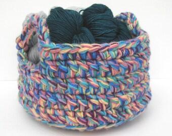 Rainbow Crochet Basket