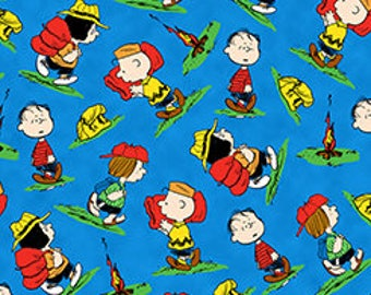 Quilting Treasures, Camp Peanuts, Peanuts character Toss on Blue,  yard