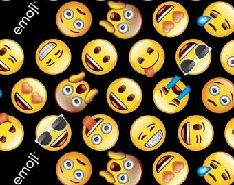 Emoji Licensed fabric, Emoji's on black, cotton, 1 Yard
