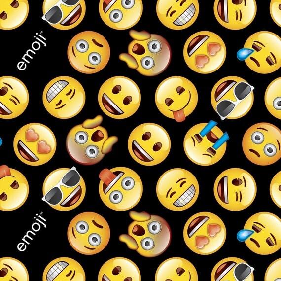 Emoji licensed fabric emoji 39 s on black cotton 1 yard for Emoji fabric