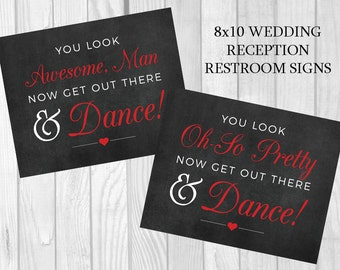 Get Out There and Dance Printable 5x7, 8x10 Black and Red Wedding Reception Women's and Men's Restroom Signs - Instant Download