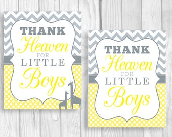 Thank Heaven for Little Boys Printable 8x10 Yellow and Gray Baby Shower Sign or Nursery Art Print - Giraffes Optional - Instant Download
