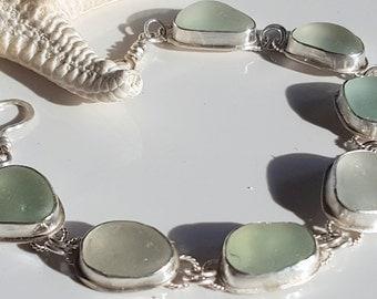 Aqua Sea Glass Bracelet Aqua Blue Sea Glass Sea Glass Jewelry Beach Glass Bracelet Size 7 1/2 to 8 - B-234