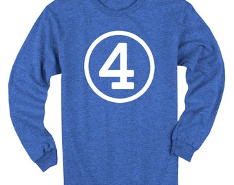 Fourth Birthday Long Sleeve Heather Royal Blue Kids T-Shirt