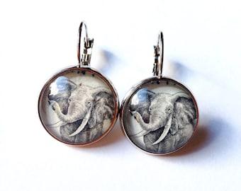 Elephant Earrings - Elephant Jewelry - Postage Stamp Earrings - Vintage Stamp Jewelry - Gift for Her - African Elephant - Kenya Stamp